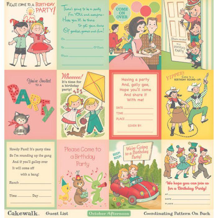 Бумага Guest List, коллекция Cakewalk для скрапбукинга