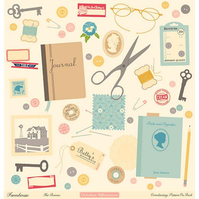 Бумага Her Bureau, коллекция Farmhouse для скрапбукинга