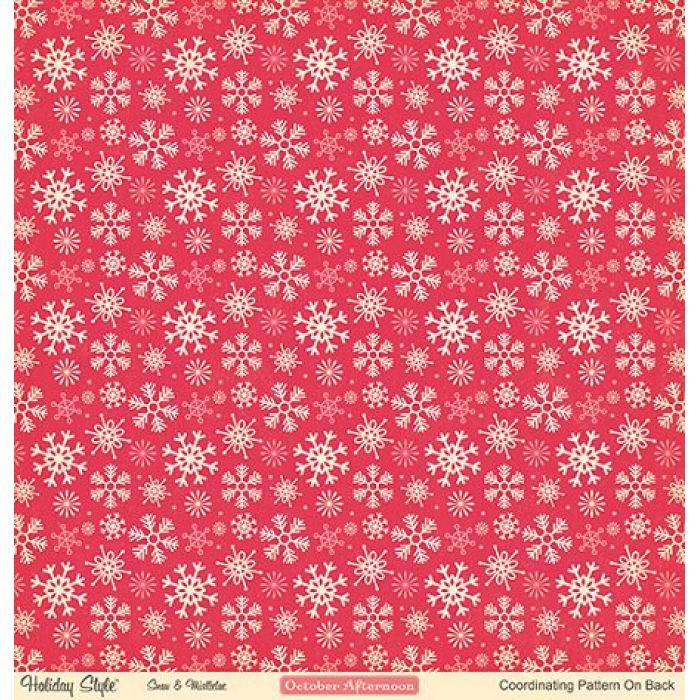 Бумага Snow & Mistletoe, коллекция Holiday style для скрапбукинга
