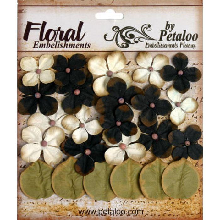 Набор цветов Дарджилинг гортензия черно-кремовая для скрапбукинга