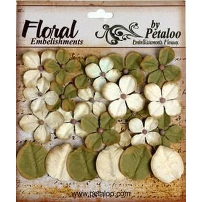Набор цветов Дарджилинг гортензия зелено-кремовая для скрапбукинга