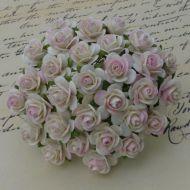 Розы цвета слоновой кости с розовым 10 мм