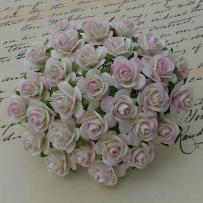Розы цвета слоновой кости с розовым 10 мм для скрапбукинга