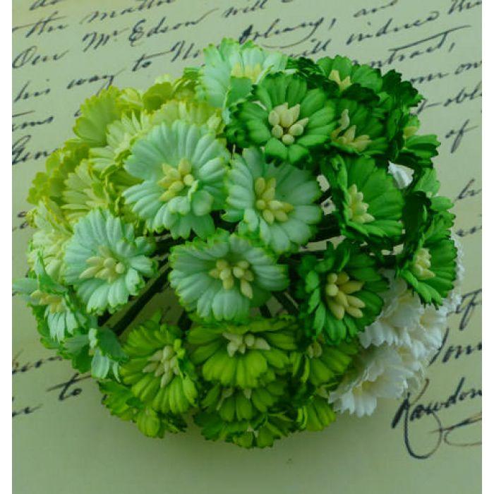 Ромашки бело-зеленые для скрапбукинга