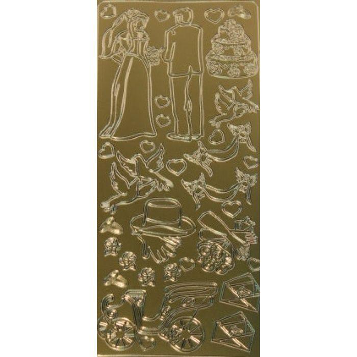 Контурные стикеры СВАДЬБА золотые для скрапбукинга