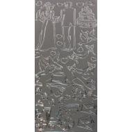 Контурные стикеры СВАДЬБА серебряные