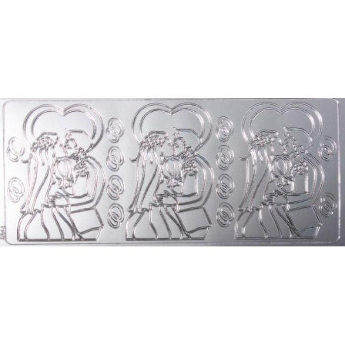 Контурные стикеры ЖЕНИХ И НЕВЕСТА серебряные для скрапбукинга
