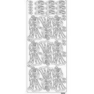 Контурные стикеры МОЛОДОЖЕНЫ серебряные
