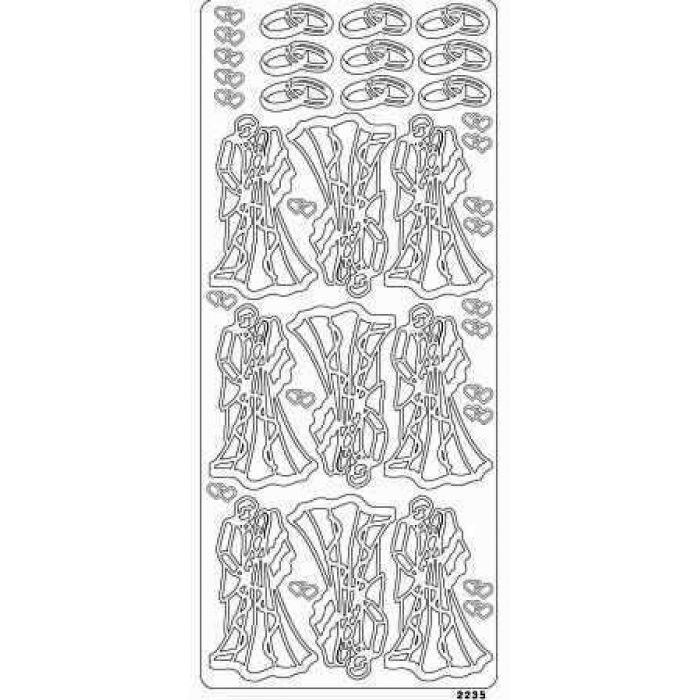 Контурные стикеры МОЛОДОЖЕНЫ серебряные для скрапбукинга