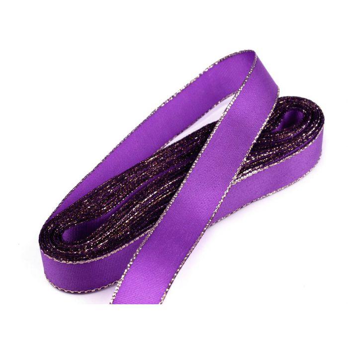 Лента фиолетовая тафтовая с люрексом, 15 мм для скрапбукинга