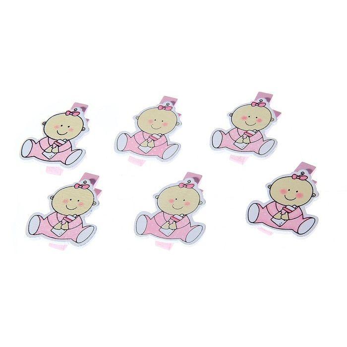 """Прищепка """"Малышка"""" розовый для скрапбукинга"""