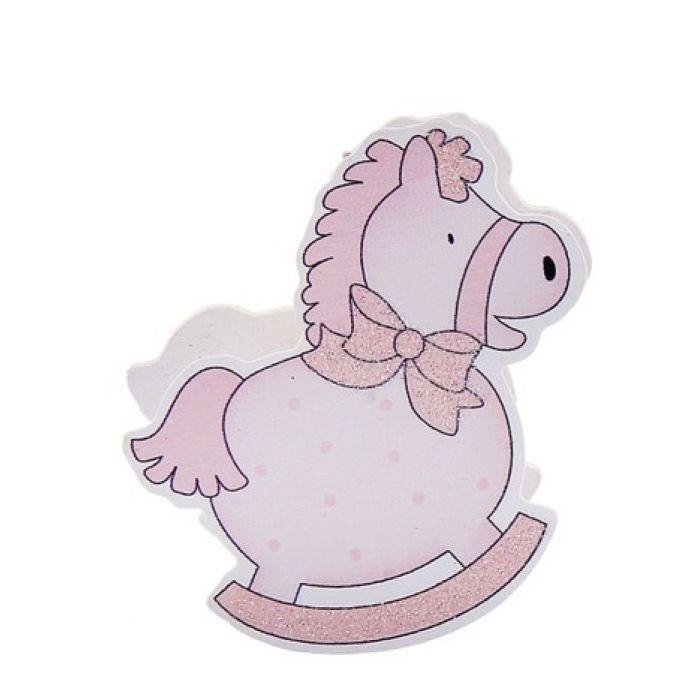 """Прищепка """"весёлая лошадка"""" розовая для скрапбукинга"""