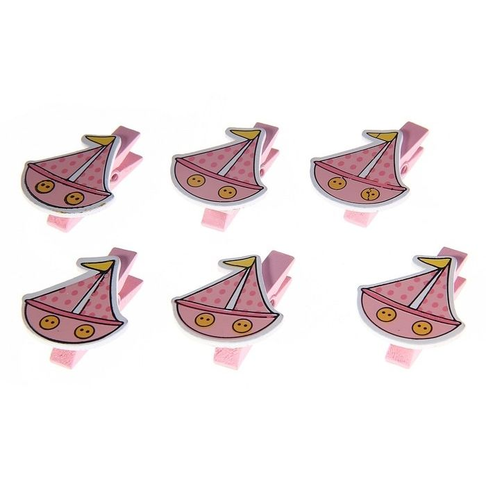 """Прищепка """"Кораблик"""" розовый для скрапбукинга"""