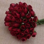 Бутоны роз темно-красные, 8 мм