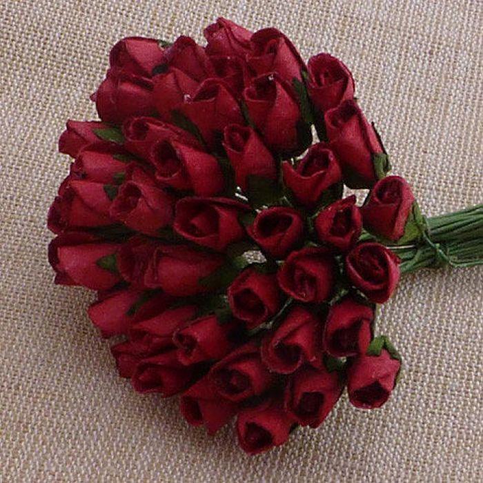 Бутоны роз темно-красные, 6 мм для скрапбукинга