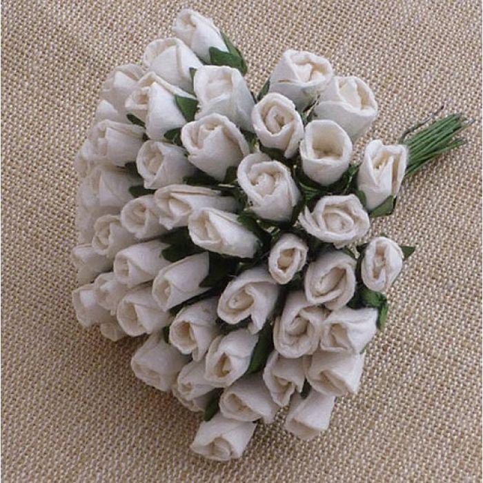 Бутоны роз белые, 8 мм для скрапбукинга
