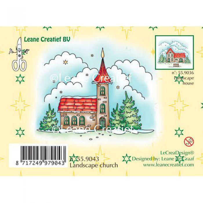 Штамп силиконовый Зимний пейзаж с церковью для скрапбукинга