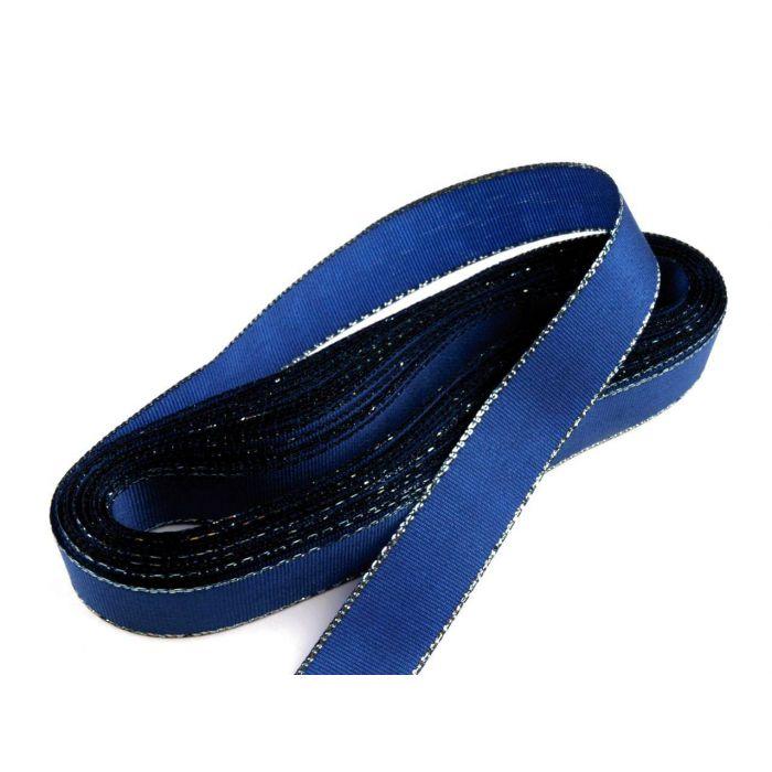 Лента тафтовая с люрексом синяя, 15 мм для скрапбукинга
