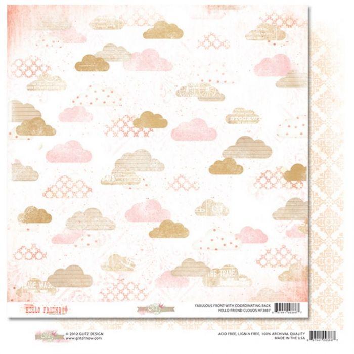 Бумага Clouds, коллекция Hello Friend для скрапбукинга