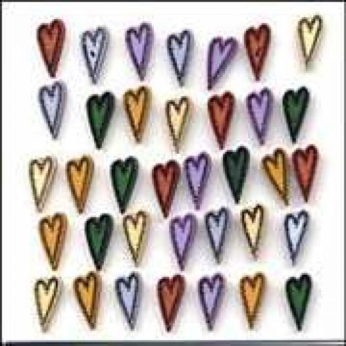 Набор пуговиц  Folk Hearts для скрапбукинга