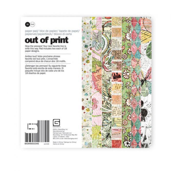 Набор бумаги 15 х 15 см, коллекция Out of Print для скрапбукинга