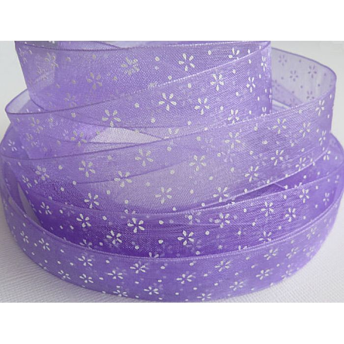 """Лента из органзы """"Цветы"""" фиолетовая, 20 мм для скрапбукинга"""