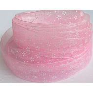 """Лента из органзы """"Цветы"""" розовая, 20 мм"""