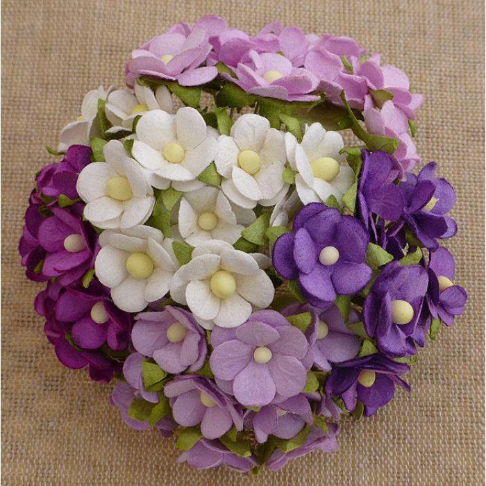 Цветы фиолетовая смесь для скрапбукинга