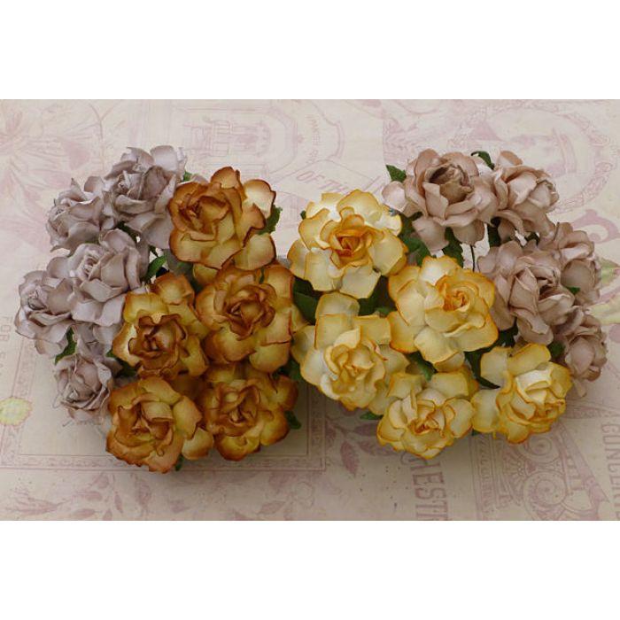 Розы садовые желто-коричневые, 25 мм для скрапбукинга