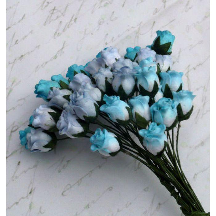 Бутоны роз бело-голубые для скрапбукинга