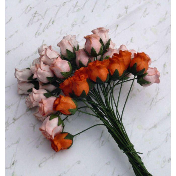 Бутоны роз оранжевая смесь для скрапбукинга
