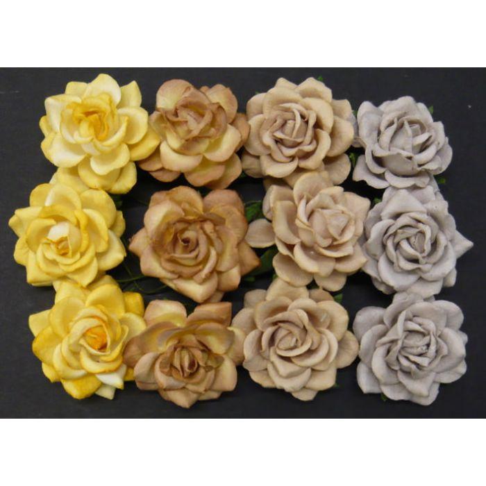Розы шпалерные желто-коричневые, 35 мм для скрапбукинга