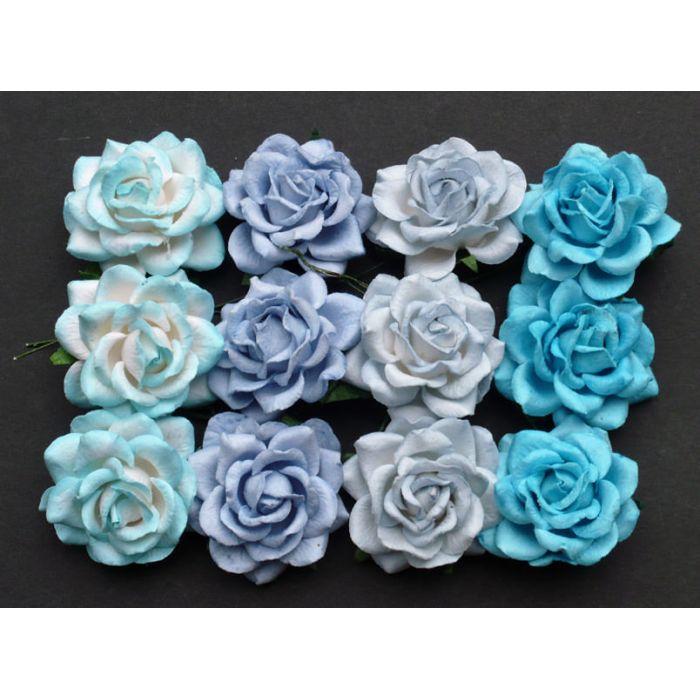 Розы шпалерные голубые, 35 мм для скрапбукинга
