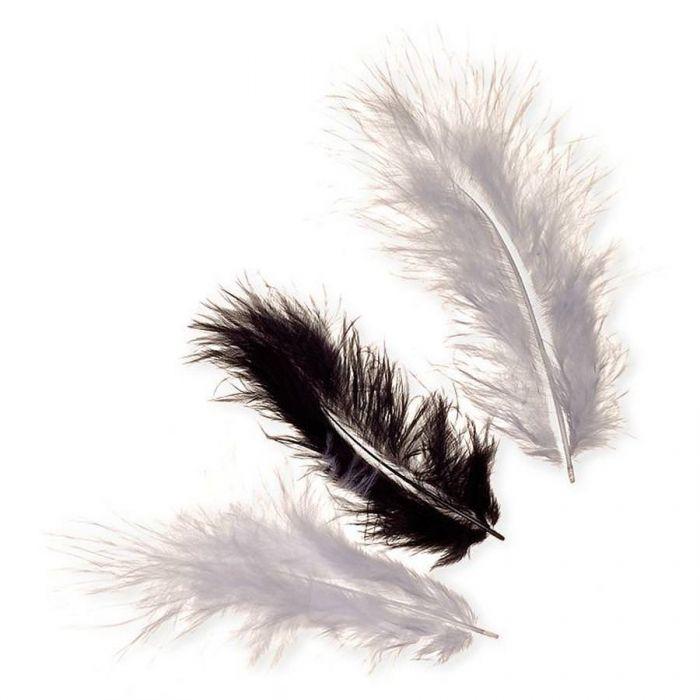 Перья марабу бело-черные для скрапбукинга