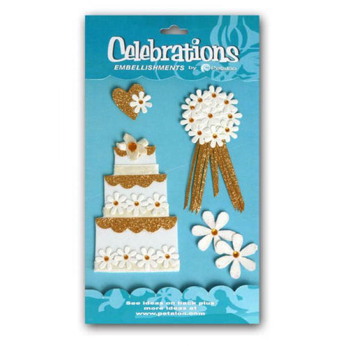 """3-D наклейки """"свадебный торт"""" для скрапбукинга"""
