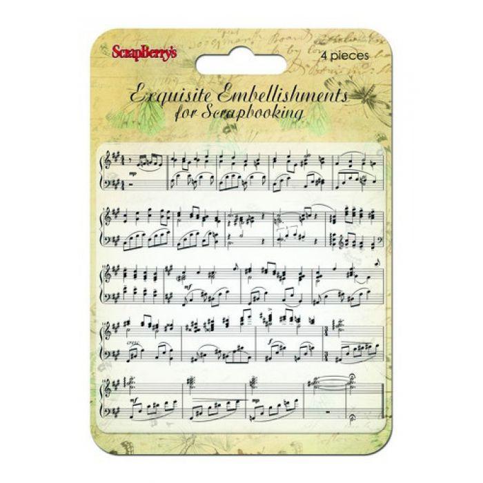 Фоновый штамп музыкальная строка для скрапбукинга