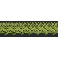 Кружево хлопчатобумажное лаймовое, 25 мм