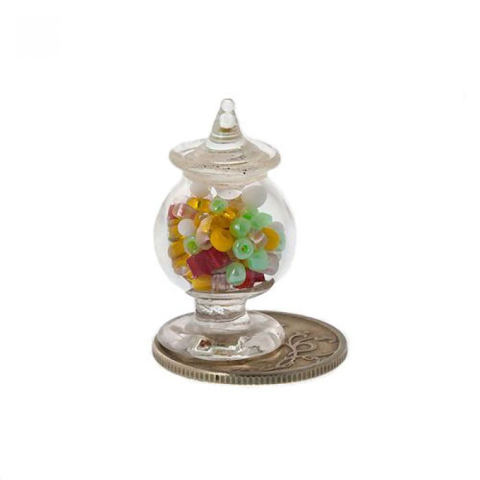 Стеклянная вазочка с крышкой и наполнением для скрапбукинга