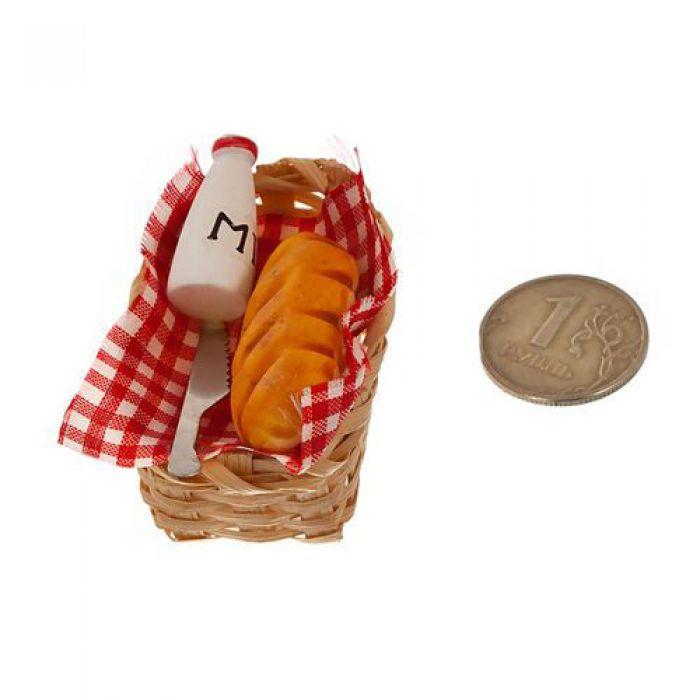 Хлеб и молоко в плетеной корзинке  для скрапбукинга