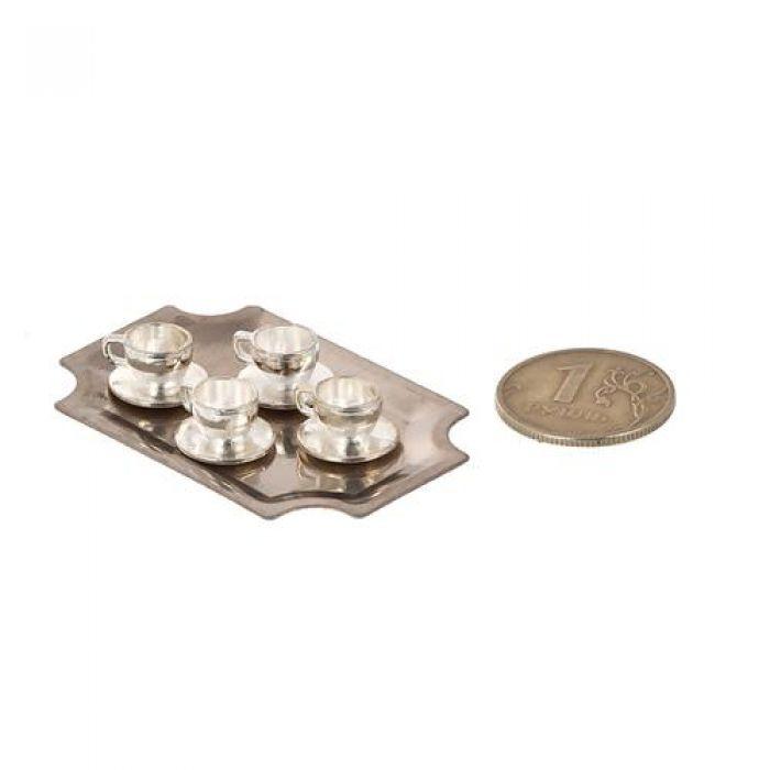 Набор металлические чашки с блюдцами на подносе для скрапбукинга
