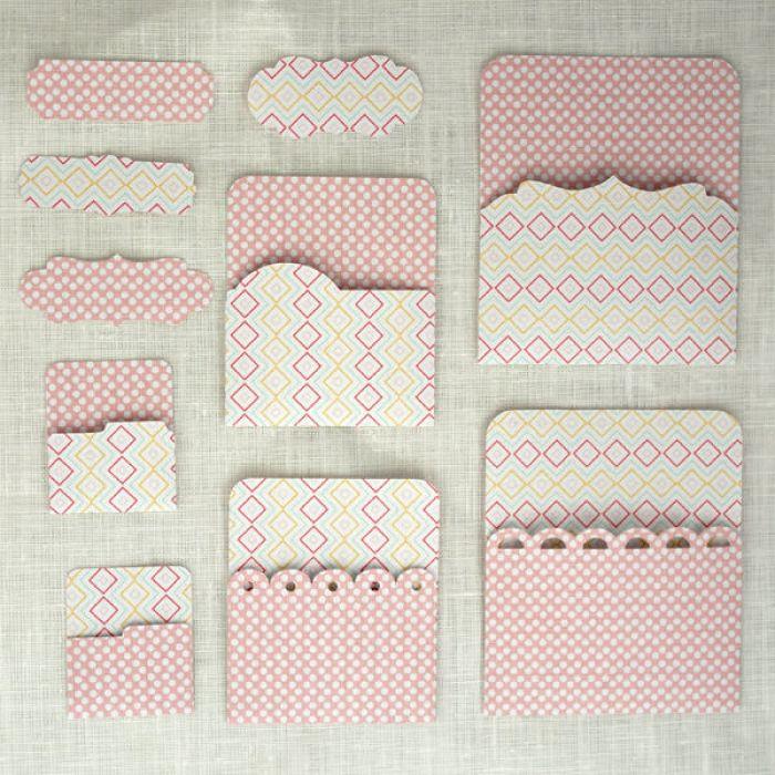 Кармашки розовые 03 для скрапбукинга