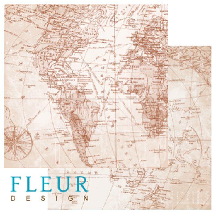 Бумага Карта мира, коллекция Путешествие для скрапбукинга