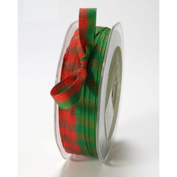 Лента зелено-красная клетка для скрапбукинга