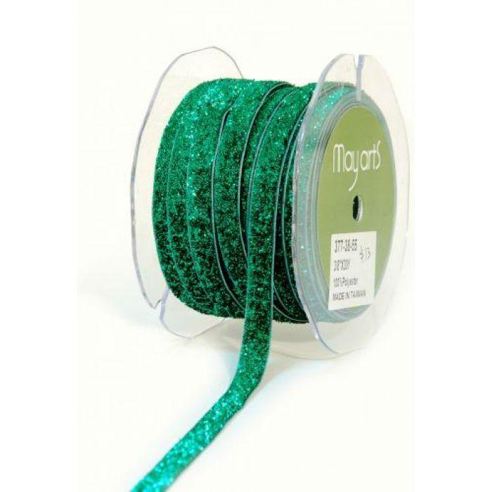 Лента вельветовая зеленая для скрапбукинга