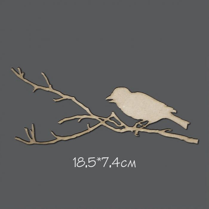 Чипборд Птица на ветке для скрапбукинга
