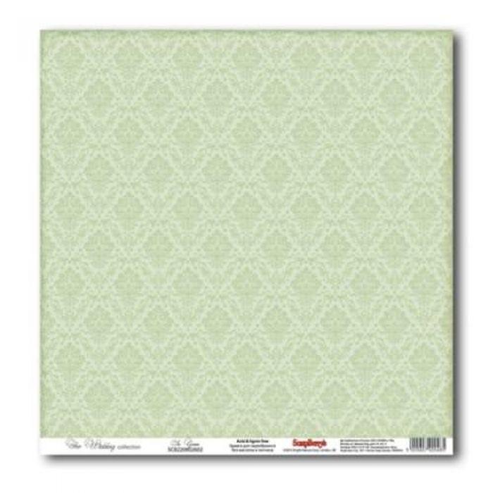 Бумага Нежно-зеленый, коллекция Свадебная для скрапбукинга