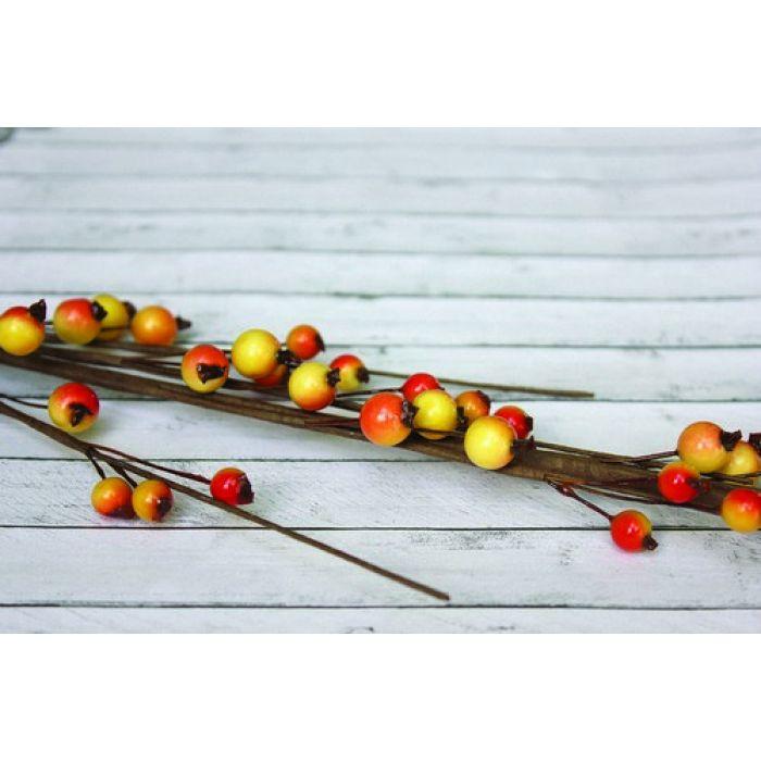 Веточка с ягодками красно-желтая крупная для скрапбукинга