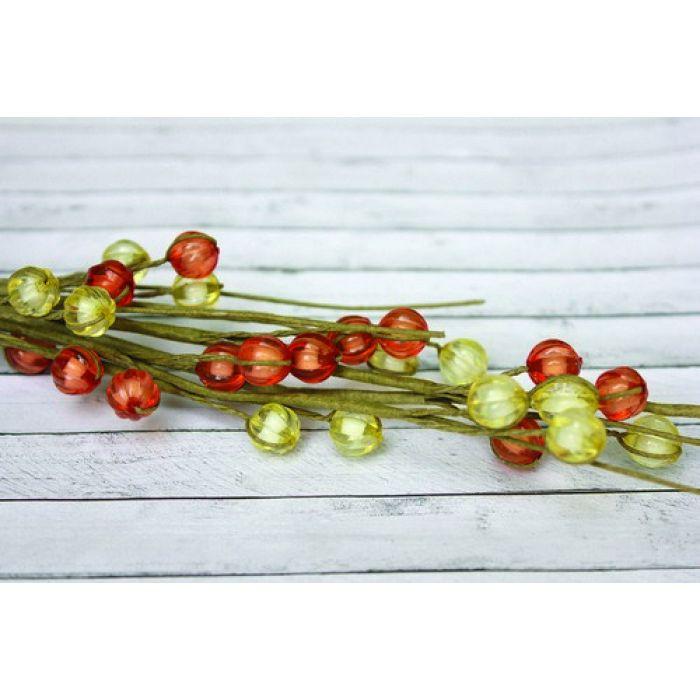 Веточка с бусинками красно-желтая для скрапбукинга