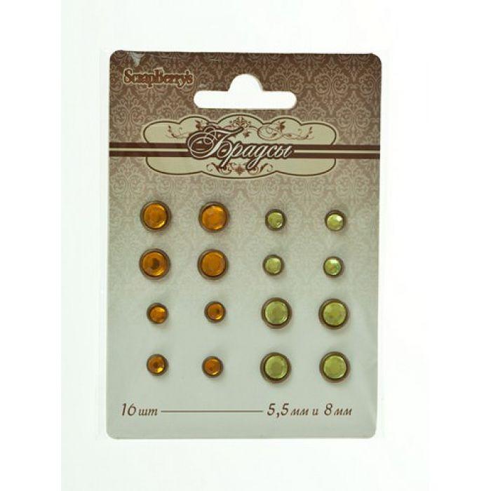 Набор брадсов хрусталь янтарно-зеленый для скрапбукинга