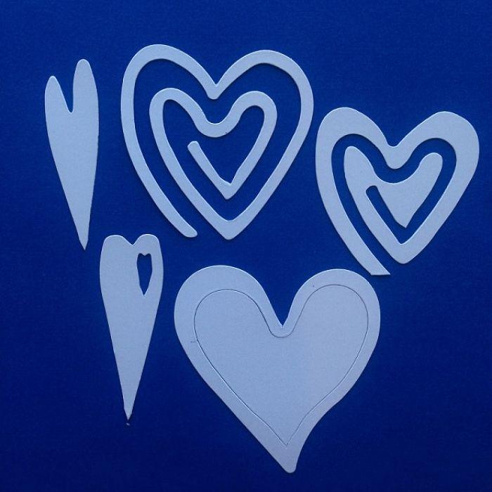 Сердечки, вырубка из белого картона для скрапбукинга